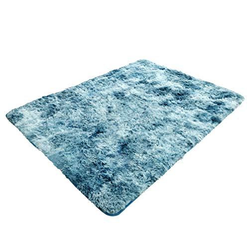 TOPBATHY pluizige woonkamer gebied tapijten Slaapkamer Tapijt Faux Fur tapijt Bedkant tapijten Anti-Skid voor Woonkamer Kids Room Home Decor (roze), 80 * 120cm, Blauw