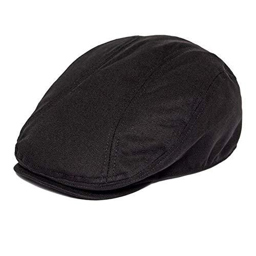 Summer Twill Cotton Flat Cap Herren Golf Caps Baker Boy Hut Fahrer Hüte-Schwarz, 63...