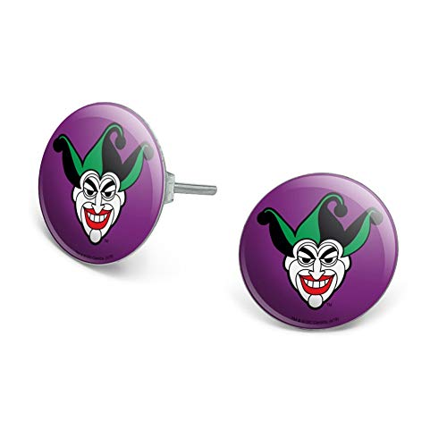 GRAPHICS & MORE Batman Joker Symbol Novelty Silver Plated Stud Earrings