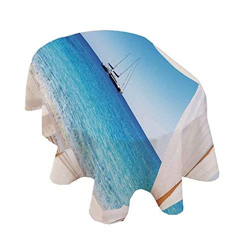 Mantel ovalado con decoración balinesa, playa a través de una cama balinesa, verano, sol, claro, cielo y luna de miel, color azul, blanco