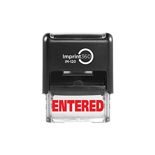"Imprint 360 AS-IMP1028 - Entered, Heavy Duty Commerical Quality Self-Inking Rubber Stamp, Red Ink, 9/16"" x 1-1/2"" Impression Size, Laser Engraved for Clean, Precise Imprints"