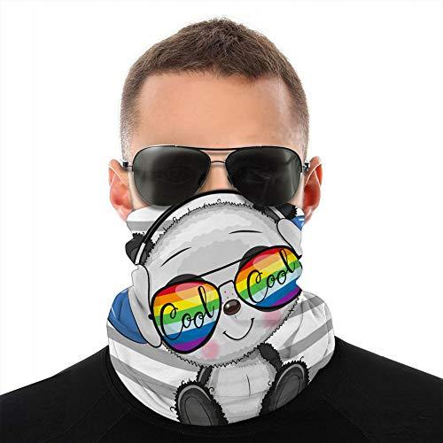ncnhdnh Sun-Proof Neck Gaiter Cover Tube Soft Elastic Balaclava Cool Cartoon Cute Panda with Sun Glasses Half Shield