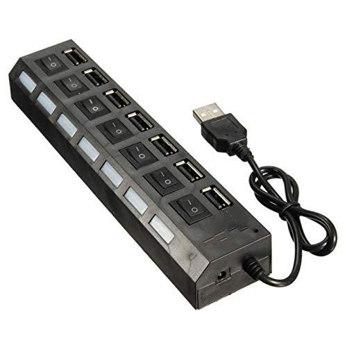 Hub USB de 7 puertos USB 2.0 de alta velocidad + adaptador de corriente CA interruptor de encendido/apagado para PC portátil PC portátil USB Flash Drive