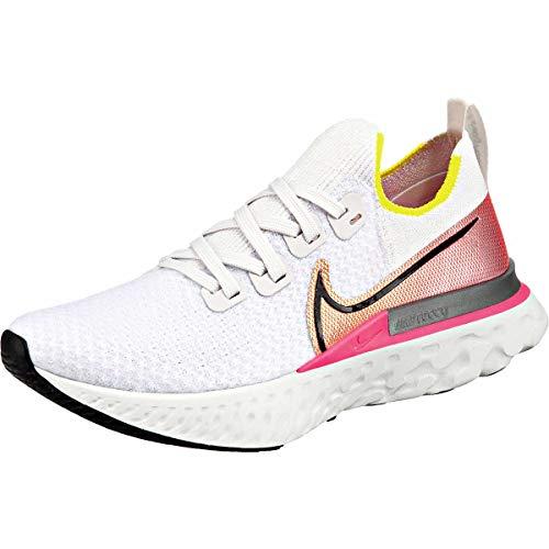 Nike React Infinity Run Flyknit, Zapatillas de Running Mujer, Gris (Platinum Tint/Black-Pink Blast 004), 42.5 EU