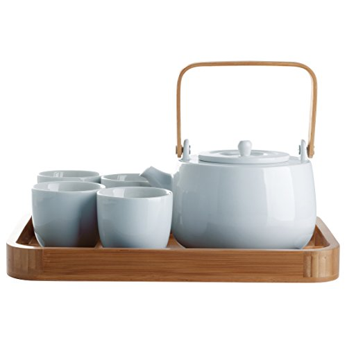 Ceramic Teapot and 4 Mugs Set with Bamboo Serving Tray