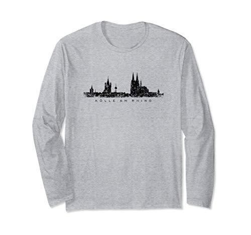 """Kölner Skyline (Vintage Schwarz) \""""Kölle am Rhing\"""" Köln Langarmshirt"""