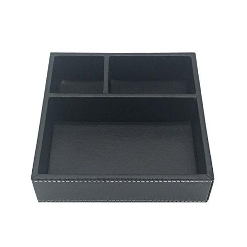 UnionBasic Schreibtischschubladen-Organizer, flach, 3 Fächer, klein, PU-Leder, Schublade, Schreibwaren, Kleinteile, Utensilien, Organizer, Aufbewahrungsbox, Visitenkartenhalter, Schlüsselbehälter Schwarz