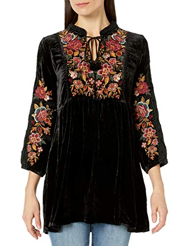 black velvet loose-fitting floral turnic
