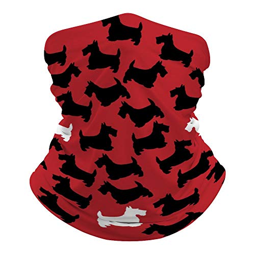Scottie Dog Cute Pattern Multifunctional Face Scarf,Face Mask, Neck Gaiter,Neck Cap,Seamless Neck Cover,Outdoors, Breathable Face Cover Bandana,Unisex Headwear