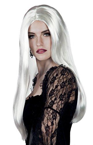 Peluca de bruja, pelo largo color blanco.