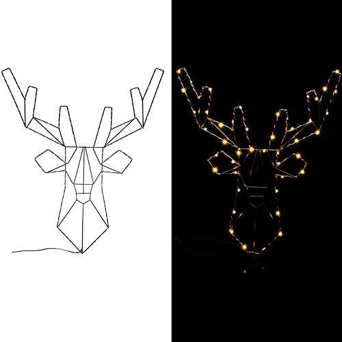 LED Hirsch Weihnachtsdekoration beleuchtet mit 6h-Timer Lichterkette Indoor Outdoor Dekofigur