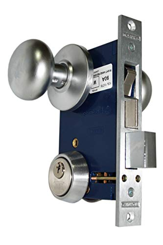 "Marks 22AC RHR Satin Chrome Double Cylinder Iron Gate Ornamental Mortise Lock Set with 2-1/2"" Backset"