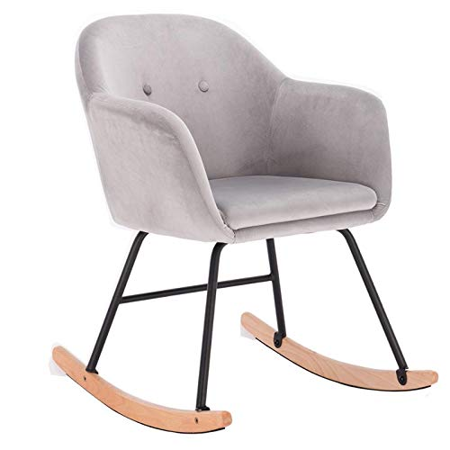 XBSJB Rocking Chairs Linen Velvet Lounge Chair Recliner Relaxing Chair with Comfortable Padded Seat, for Living Room Bedroom Adult Kids,e