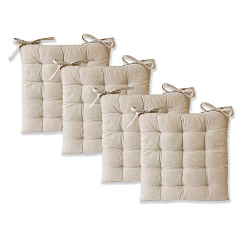 etérea Sitzkissen - Ilka Stuhlkissen Serie - Boden-Kissen mit Bändern für Indoor und Outdoor, 100% Baumwolle nach Ökotex 100, Größe: 4er Set - 40x40 cm, Farbe: Natur
