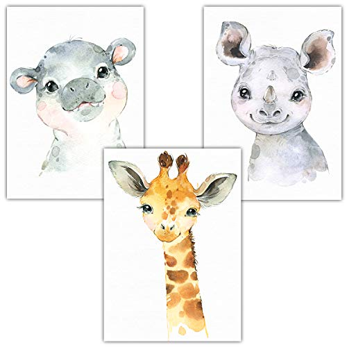 Frechdax® 3er Set Poster Kinderzimmer Babyzimmer Von Künstlerin | Waldtiere Safari Afrika Tiere Porträt Tierposter (3er Set Nashorn, Giraffe, Nilpferd)