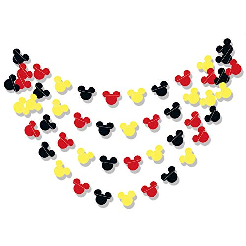 Mickey Mouse Garland | Paper Garland |Party Supplies | Club House Inspiration | Mickey Head Garland | Tricolor Mickey Head Garland Mickey Paper garland (Mickey garland Horizontal Sewing)