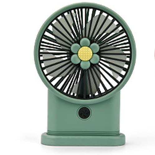 N\C Hermosa Mano Flor Fan USB Recargable Escritorio lámpara Nocturna Escritorio Ventilador estudiantil Green