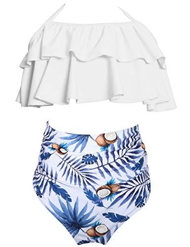Echinodon Mädchen Bikini Set Neckholder Badeanzug mit Rüschen Blumen Kinder Zweiteiler Bademode Schwimmanzug Blau 152