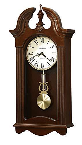 Howard Miller Malia Wall Clock 625-466 - Cherry Bordeaux Finish, Brushed Brass Round Pendulum Bob, Home Decor, Quartz Single-Chime Movement, Volume Control