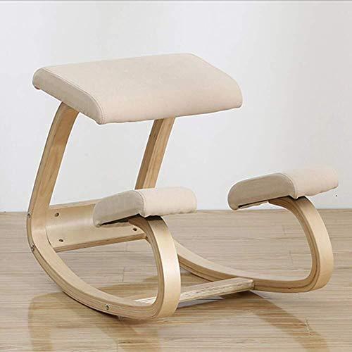 Sedia ergonomica, panca in legno postura con correzione della schiena, dolore al collo e sollievo dalla tensione spinale, caviglia oscillante e ginocchiera morbida ortopedica ( Color : D )