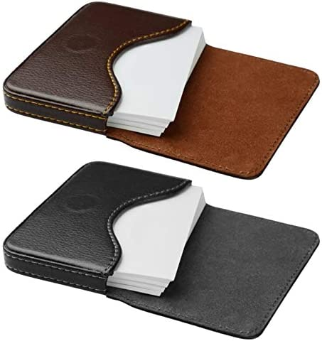 kiniza 2 Pieces Leather Business Card Holder Case Pocket Business Cards Wallet for Men Women product image