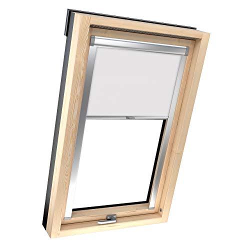 4dekor Dachfenster Rollo für Velux P06/406, Weiß, Dachfenster verdunkelung, Rollo für dachfenster, Thermo Rollo, Verdunklungsrollo mit führungsschiene, 100% Sonnenschutz