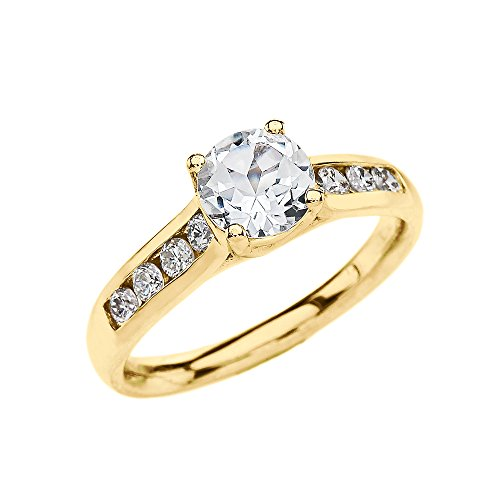 Channel Set Diamond Yellow 9 ct Gold Engagement Solitaire Ring with 1 Carat White Topaz Center Stone HII