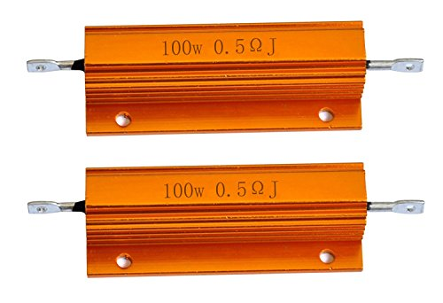 Cutequeen 2PCS 100W Watt 0.5 Ohm Aluminum Case Wirewound Chassis Mounted Resistor (Pack of 2)