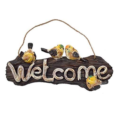 Canness Zeichen Willkommensplakette Antike Vogel-förmige Welcome Card Garten-Vogel Statue Hängen Welcome Card Außendekoration Gartenterrasse Terrasse Veranda Ho (Color : One Color, Size : One Size)