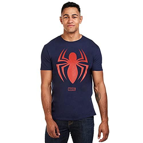 Marvel Spiderman Logo Camiseta, Navy, Medium para Hombre