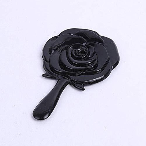 Miroir Délicat De Maquillage Rose Poignée De Fleurs Salon De Beauté Spécial Petit Portable Portable avec des Tours Individuels Lumineux (Color : Black)