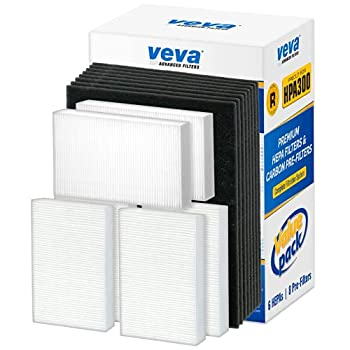 VEVA Premium HEPA Replacement Filter 6 Pack Including 8 Precut Activated Carbon Pre-Filters for HPA300 compatible with Honeywell Air Purifier 300 and Filter R