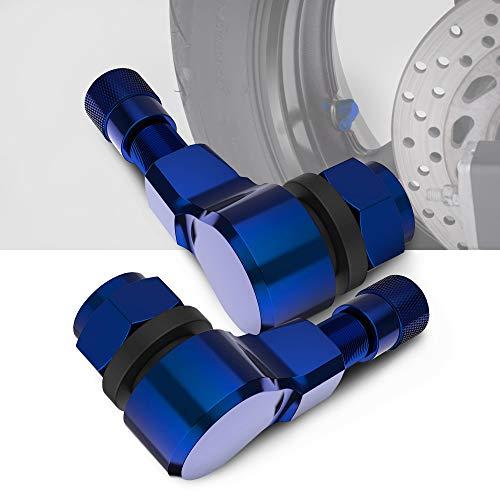 BASIKER 1 Pair 90 Degree CNC Motorcycle Wheel Valve Stems Tire Right Angle Aluminum Valve Stems 10mm &11.3mm Fit for Honda/Kawasaki/Suzuki/Yamaha/Harley Davidson/BMW/Triumph etc. Bike