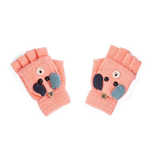 Handschuhe Kinder Fingerlos,Kinderhandschuhe Winter,Strickhandschuhe Kinder Winter,Winterhandschuhe Kinder,Herbst Winter Baby Warme Handschuhe Kind 3-6 Jahre alt (Orange)