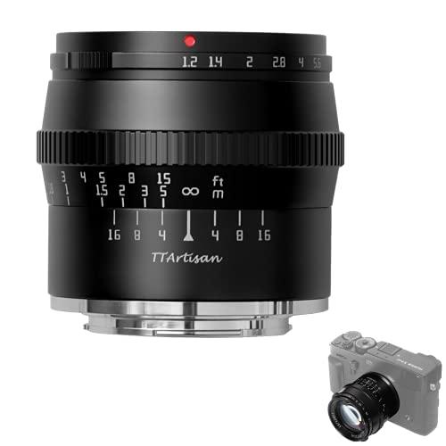 TTArtisan 50mm F1.2 Lente APS-C MF Compatible con cámaras con montura Fujifilm XA XM X-H1 X-T1 X-T2 X-T3 X-T4 X-T10 X-T20 X-T30 X-T100 X -T200 X-PR0 XE X-S10