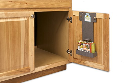 Sale!! Kitchen Compost Caddy Cabinet Mounting Rack with Storage for Compost Bags for Use Vented Compost Bin – Pail (Labeled NPL-390 on Pail Bottom – Sold Separately)
