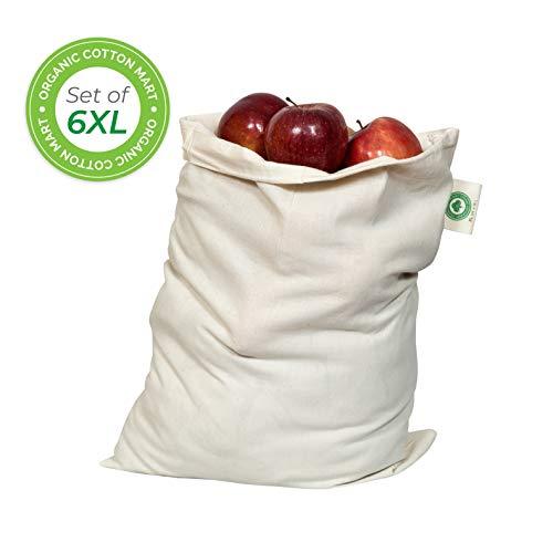Food Grade Bulk Storage Bags - Reusable - Organic Cotton Fabric Produce Drawstring Bags - Organic Cotton Muslin Produce Bags - Reusable Natural Cloth Bags - Grain Bags (6, X-Large: 14
