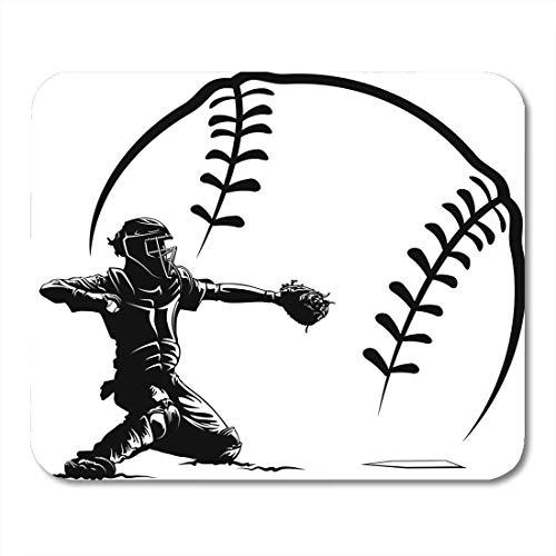 Mauspads handschuh weiß softball baseball catcher bei plate ball schwarz mauspad für notebooks, Desktop-computer matten büromaterial