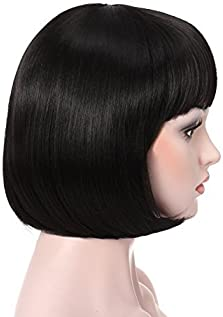"OneDor 10"" Short Straight Hair Flapper Cosplay Costume Bob Wig (1B - Off Black)"