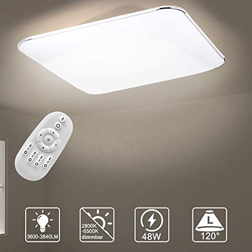Aufun 48W LED Deckenleuchte Dimmbar, Deckenlampe für Flur, Küche, Wohnzimmer, Büro, Modern Lampe Schutzart IP44, Energie Sparen Licht, 650X430 mm, Dimmbar (2800-6500K) inkl. Fernbedienung