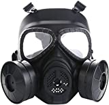 Sutekus M04 Airsoft Mask Full Face Skull CS Mask with Fan (2 Fans)