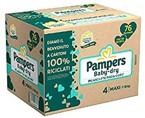 PAMPERS Baby Dry - Paquete de repuesto 4 maxi, 76 unidades