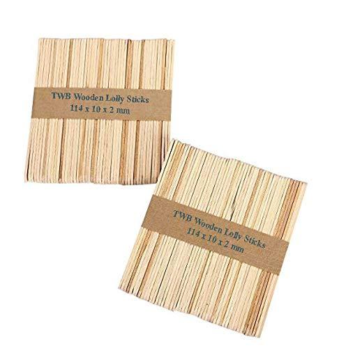 100 pcs Wooden Lolly Sticks, Natural Lollipop Sticks for Ice or Cake Pops & Kids Crafts Models, 114 x 10 x 2 mm
