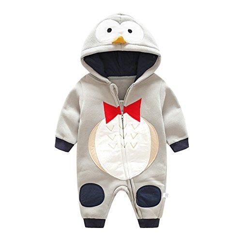 Pagliaccetto Bambini Unisex - Romper Inverno Tuta Animali Jumpsuit Caldo Outerwear Autunno Ragazzi Ragazze 0-12 Mesi Tigre Anatra Pinguino Giallo Blu Grigio