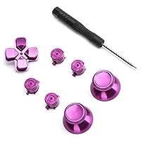 コントローラーアルミ合金ボタンセット、交換部品用の耐久性のある絶妙な外観のアルミ合金サムスティックセット(紫の)