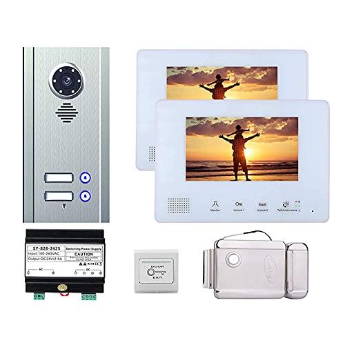 BJH Timbre con Video, videoportero para apartamento, vigilancia de Seguridad para el hogar, intercomunicador, cámara + 7 Pulgadas + Cerradura de Puerta