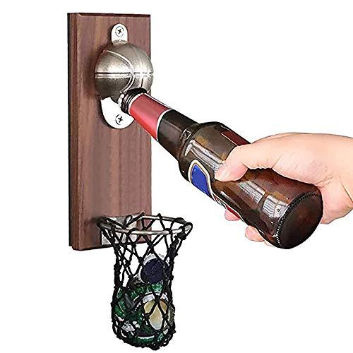 バスケットボールの栓抜き、キャップコレクターキャッチャー付き木製壁掛けオープナー、環境保護コーティング、ビール愛好家への理想的なギフト