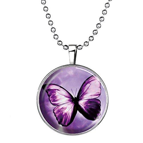 Feilok Fashion Schmetterling Muster Leuchtend Anhänger Halskette, Blaue Leuchtende Farbe