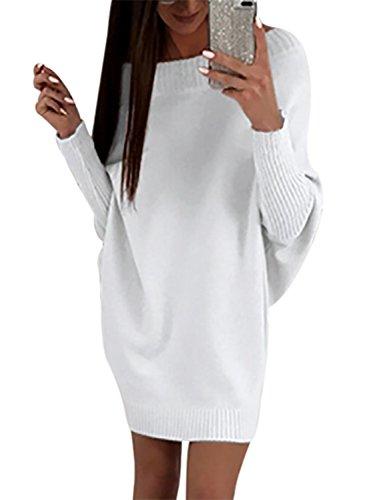 Happy Sailed Damen Fledermaus Ärmel Schulterfrei Strickkleid Sweater Kleid Pullover Kleid Pullikleid Strickpullover Kleid S-XXL, Weiß, X-Large...