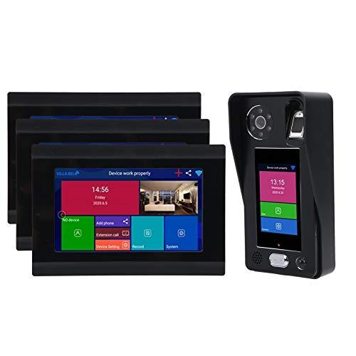 Cuifati Videoportero, Monitor Interior LCD de 7 Pulgadas + cámara Exterior, ángulo de visión de 92 Grados, Cara de(European regulations)